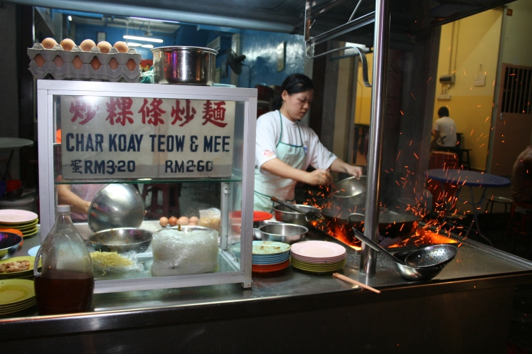Char kway teow (stir-fried noodles), classic street food in Penang, Malaysia
