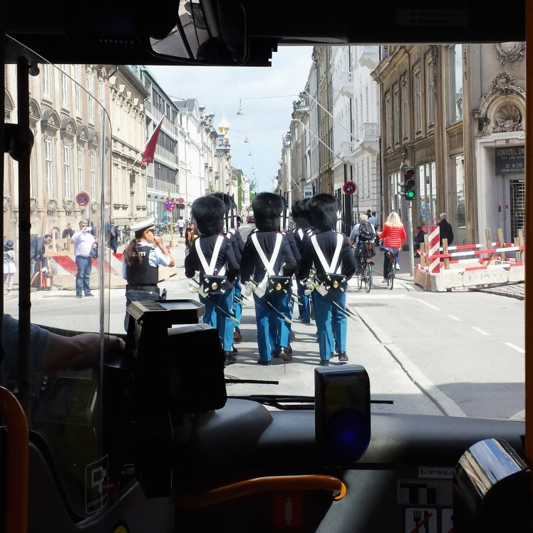 Copenhagen Guards in front of Bus